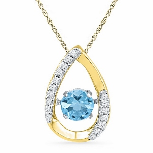 0.075 ctw Diamond with 0.62ctw Blue Topaz Pendant in 10 Karat Yellow Gold with matching chain.