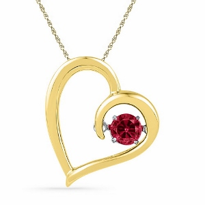 0.20CTW DIAMOND LAB CREATED RUBY PENDANT