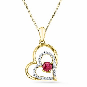 0.12 c.t.w Diamond and 0.33 c.t Lab Created Ruby Pendant in 10 Karat Yellow Gold and matching chain