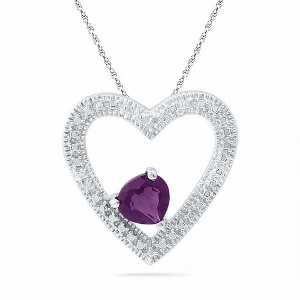 0.62 ctw Amethyst Sterling Silver Heart Pendant with matching Sterling Silver Chain