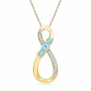0.05 c.t.w with 0.33 c.t.w Blue topaz Pendant with 10 Karat Yellow Gold Chain