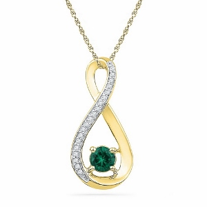 0.01 c.t.w Diamond and 0.50 c.t Lab created Emerald Pendant with chain