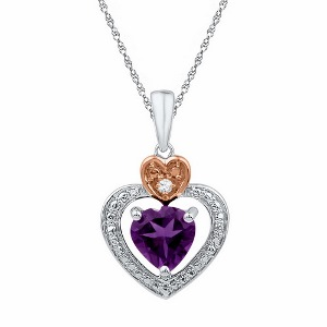 0.01 ctw Diamond with 0.75 ctw Amethyst Pendant with Sterling Silver  Chain.
