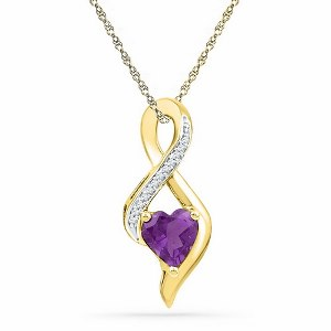 0.05 c.t.w Diamond Pendant with 0.75 c.t Amethyst in 10 Karat Yellow Gold