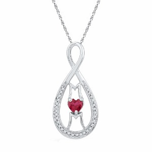 0.12 c.t.w Diamond and 0.33 c.t Lab Created Ruby Mom Pendant  with Chain