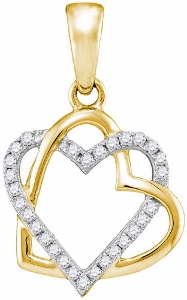 0.25ctw Diamond Heart Pendant With matching chain-Heart full of love is all about this pendant set with sparkling white diamonds, this 10 kt yellow gold pendant is very comfortable to wear. She will have a smile on her face, when wearing this cute piece. Total diamond weight is 0.25 ctw