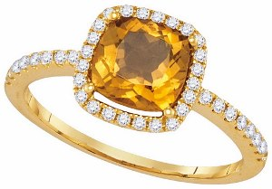 0.25 c.t.w Diamond and 1 c.t.w Citrine Ring in 14 Karat Yellow Gold