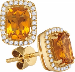 0.21CT DIAMOND WITH 0.65 CT CITRINE EARRINGS
