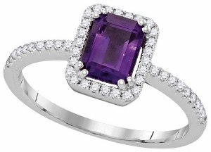 0.20 c.t.w Diamond and 1c.t.w Amethyst Ring in 14 Karat White Gold