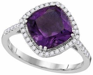 0.26 CTW Diamond and 2.50 CTW Amethyst Ring