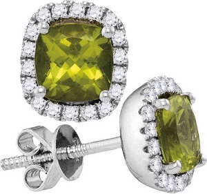 0.26CTW DIAMOND 0.80CTW PERIDOT EARRINGS
