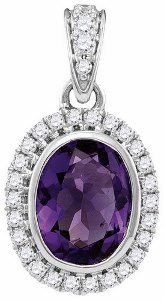 0.16 c.t.w Diamond and 1c.t Amethyst Pendant in 14 Karat White Gold with chain.
