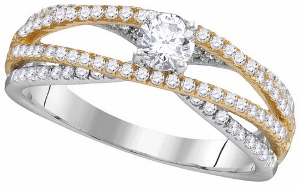Diamond engagement ring with 3/4 Carat total weight sparkling round diamonds. Diamonds are set in 14 karat two tone gold.