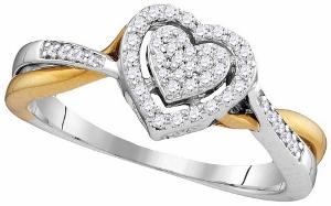0.21CTW DIAMOND HEART RING--Heart full of love in you and heart full of diamonds in this rings nothing better could express your words than this beautiful 10 karat two-tone gold base and 0.21 carat diamond weight ring. Get yours today!