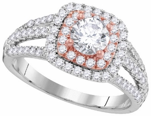 1.27CTW DIAMOND 0.62CT-CENTER DIAMOND BRIDAL RING--Keep her breathless with this stunning 14 karat white gold ring that boasts an incredible flowing design where a single diamond dominates the epicenter and further supported by additional round diamonds
