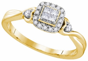 0.19 ctw Invisible Fashion Ring --Dazzle your loved one with this ravishing and sleek 10 karat yellow gold engagement ring. Collection of round  and princess cut contributing towards a diamond weight of 1/2 carat (ctw).