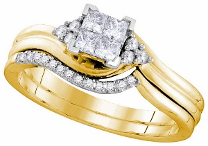 0.33 ctw Diamond Invisible Bridal Set. With this bridal ring, quality brilliant princess cut diamonds abound in an illuminating celebration of the stone's storied extravagance. Crafted in 10 karat yellow gold, total diamond weight here equals 0.33 carats (ctw)