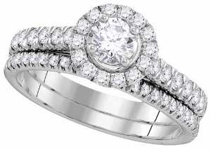1 c.t.w Diamond Bridal Set in 14 Karat White Gold with 0.33 c.t center --This beautiful halo bridal set with 1c.t.w Diamond is a perfect way to say
