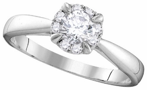 0.50CTW DIAMOND 0.38CT-CENTER DIAMOND BRIDAL RING