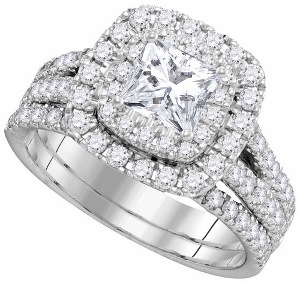 2 c.t.w   Total weight Diamond with 0.87c.t center in 14 Karat White Gold