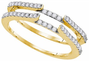 0.50CT Round Diamond Ladies Ring Wrap.Add beauty to your shimmering solitaire by wearing it with this attractive diamond ring guard. Diamonds of 0.50 ct. (Tw.) are prong setting in 14k yellow gold are the perfect outfit for your sparkling solitaire.