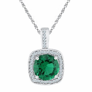 0.10 c.t.w Diamond and 4.0 c.t Lab Created Emerald Pendant