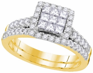 1.00 ctw Diamond Invisible Bridal Set in 14 Karat Yellow Gold.