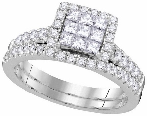 1.00CTW DIAMOND INVISIBLE BRIDAL SET- Luxurious princess cut diamonds rest radiantly from the epicenter of this lavish engagement ring and wedding band set set in cool 14 karat white gold and additional crisp diamonds 1.00 carat (ctw) speckle the remainder of the glittering front.