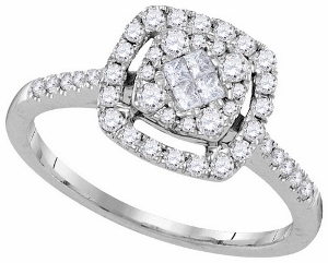 0.50CTW DIAMOND SOLIEL BRIDAL RING-- Dazzle your loved one with this ravishing and sleek 14 karat white gold engagement ring. Collection of round diamonds, and princess cut contributing towards a diamond weight of 1/2 carat (ctw).