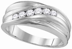 0.33 CT.TW. DIAMOND MENS FASHION BAND-Declare your love for the one man you fell head over heels for with this romantic 10 karat white gold diamond ring. A keepsake honoring your matrimonial unity, rows of round diamonds in a white gold band.