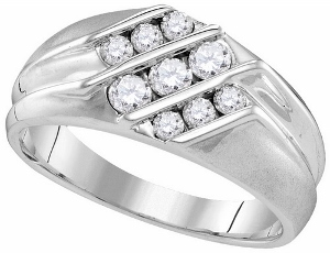 0.63CTW DIAMOND MENS FASHION BAND-Declare your love for the one man you fell head over heels for with this romantic 10 karat white gold diamond ring. A keepsake honoring your matrimonial unity, rows of round diamonds in a white gold band.