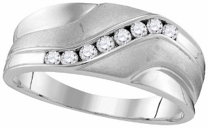 0.26 ctw Diamond Mens Band--Seal your commitment to him with a 10 karat white gold wedding band that is just his style. Emitting pristine brilliance at the center, a row of round diamonds in an invisible-like setting totaling 0.25 carats reflect light within the white gold band.