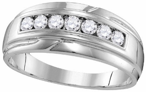 0.50 CTW Diamond Men Fashion Band-A sensational sea of white gold flows around lustrous diamonds speckled along the band of this amazing wedding band. Total diamond weight is 0.50 carat (ctw).