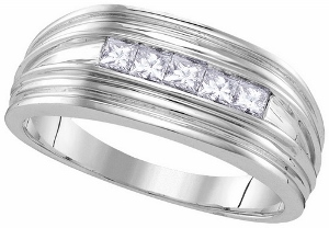 0.50CTW DIAMOND MENS FASHION BAND -A lifetime of happiness starts with sweet wedding vows. Seal your commitment to him with a 10 karat white gold wedding band that is just his style. Emitting pristine brilliance at the center, five princess cut diamonds in an invisible-like setting totaling 1/2 ct. reflect light within the white gold band.