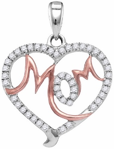 0.30CTW Diamond Mom Pendant With Matching White Gold Chain.The 10k Two Tone Gold