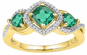 0.10 CTW Diamond and  1.39 CTW LAB CREATED EMERALD RING