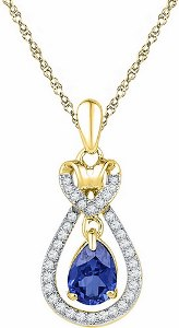 0.16 c.t Diamond with 0.87 c.t Lab Created Sapphire Pendant in 10 Karat Yellow Gold