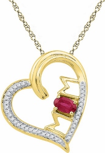 0.11 CTW Diamond 0.45 CTW Lab Created Ruby Pendant With Matching 10 KT Yellow Gold 18 inch Chain.