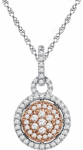 1/2 ctw Diamond Fashion Pendant in 10 Karat Two Tone Gold with matching 18