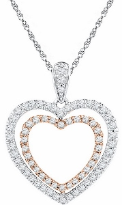1/2 ctw Diamond Heart Pendant with Matching 18inch White Gold Box Chain.