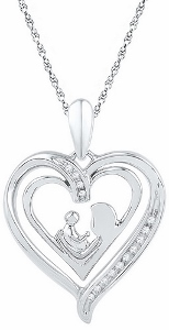 0.05 Diamond and Sterling Silver Heart Pendant with chain.