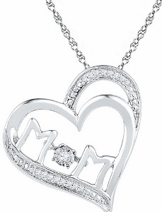 0.05 c.t.w Diamond Mom Pendant in 10 Karat White Gold with chain.