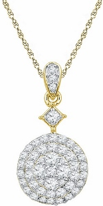 0.82 ctw Diamond Fashion Pendant in 10 Karat Yellow Gold with Matching Yellow Gold Chain