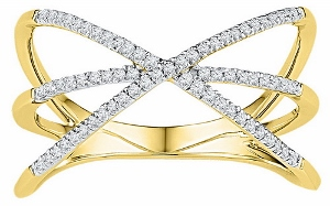 0.20 ctw Diamond Fashion Ring in 10 Karat Yellow Gold--Fingers crossed. This X-shaped ring is both simple in design and fashion-forward, with crisscrossing rows of sparkling diamonds totaling .20 carats. 10kt yellow gold ring.