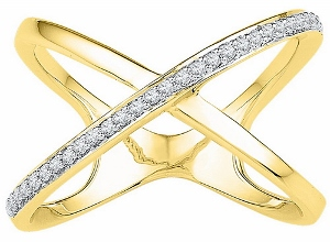 1/6 ctw Diamond Fashion Ring in 10 Karat Yellow Gold--Fingers crossed. This X-shaped ring is both simple in design and fashion-forward, with crisscrossing rows of sparkling diamonds totaling .16 carats. 10kt yellow gold ring.