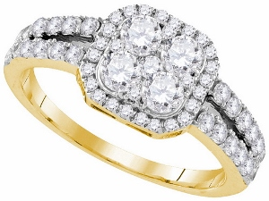 1.33 ctw Diamond Engagement Ring in 10 Karat Yellow Gold.