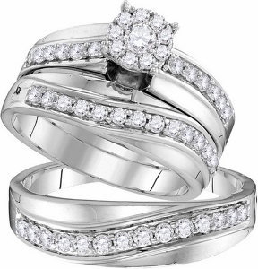 1.03 ctw Diamond Trio Set--Enriched with updated, romantic beauty, lovely designs, round diamonds inspire the creation of this stunning 14K white gold trio ensemble. Together, cherish your journey for a lifetime with diamonds totaling 1.03 ct.