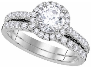 1.31c.t.w Diamond Bridal Set in 14 Karat White Gold with 0.75 c.t Center Round Diamond--What better way to ask her to be there, with this beautiful 1.31c.t.w Diamond Bridal ring ask her to wear it today, so that every day, in every way, she will be carrying a part of you and your love.