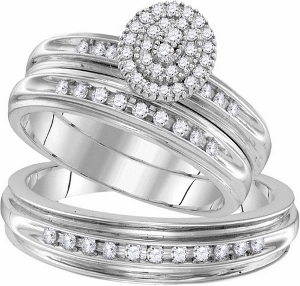 0.50 ctw Diamond Fashion Trio Set -- -A keepsake honoring your romance and commitment to marriage, this stunning trio ensemble is elegantly crafted of warm, sparkling 10 karat white gold. Together, cherish your love story for a lifetime with diamonds totaling 0.50 ct.