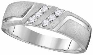 0.16 ctw Diamond Machine Set Band in 14 Karat White Gold
